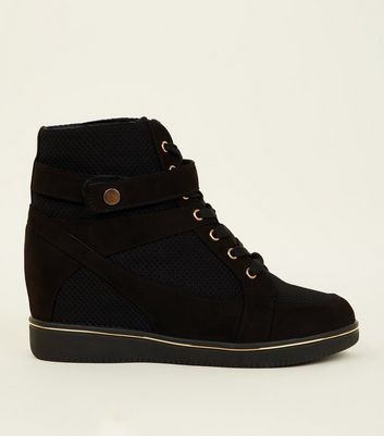 Black Suedette Piped High Top Trainers