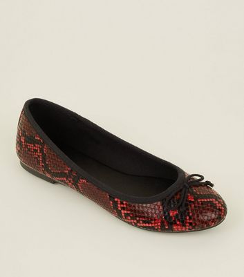 Red Faux Snakeskin Bow Front Ballet Pumps