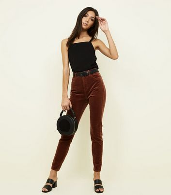 Dark Brown Corduroy Super Skinny Dahlia Jeans