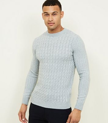 Grey Cable Knit Long Sleeve Jumper