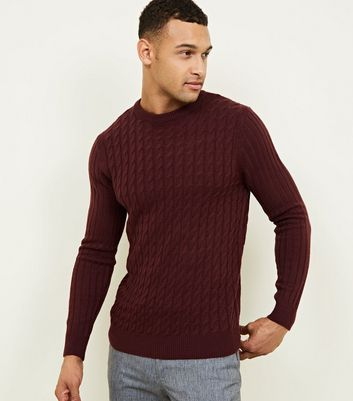Burgundy Cable Knit Long Sleeve Jumper