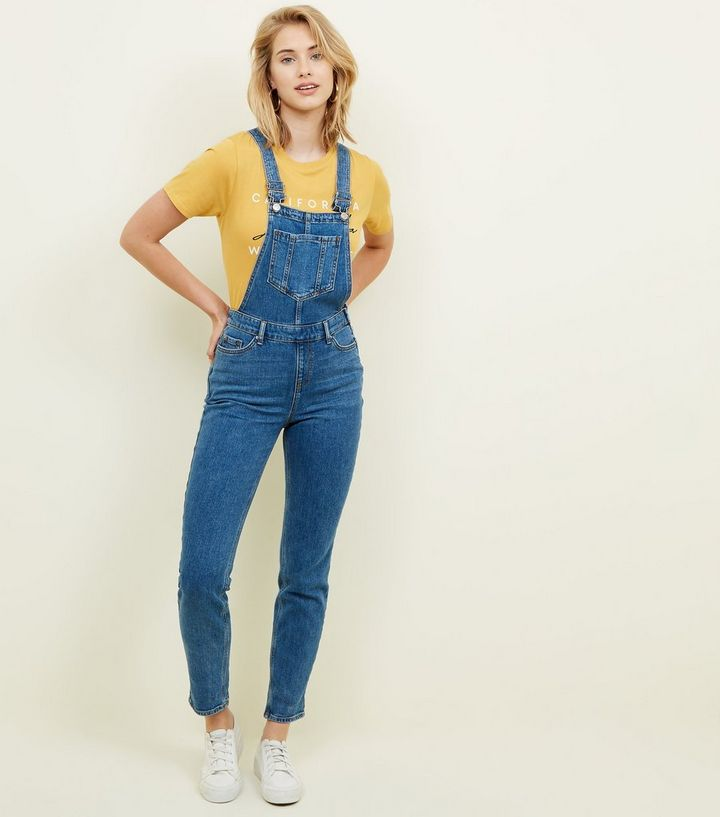 5aad013e10 Blue Pocket Front Relaxed Skinny Denim Dungarees