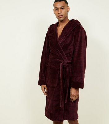 Burgundy Faded Check Dressing Gown New Look