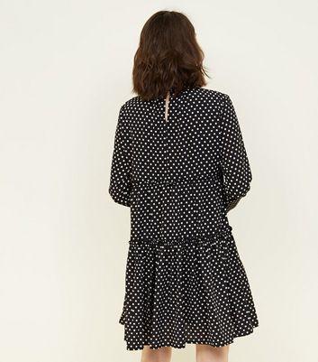 Apricot Black Polka Dot Tiered Dress New Look