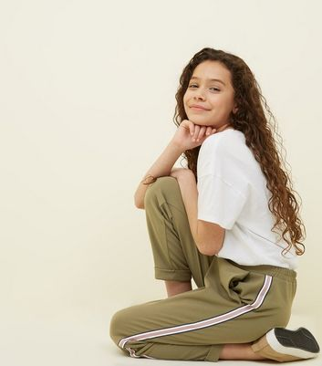 Girls Khaki Tape Stripe Side Tapered Trousers