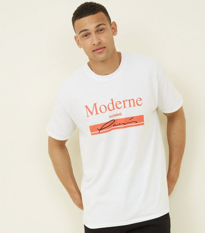 on sale d3a3c ef167 White Moderne Homme Slogan T-Shirt Add to Saved Items Remove from Saved  Items