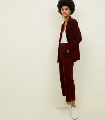 Burgundy Corduroy Cropped Trousers