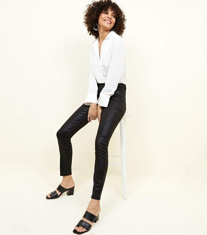 b2024d93465d7 Black Faux Snake High Rise Super Skinny Dahlia Jeans