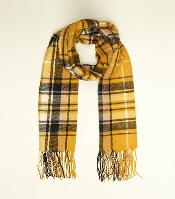 Yellow Check Longline Scarf