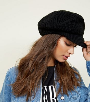 1b6d826b ... usa black ribbed knit baker boy hat new look 09b66 ba927
