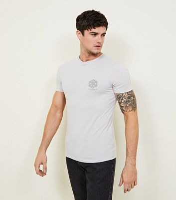 Pale Grey LA Print Muscle Fit T-Shirt