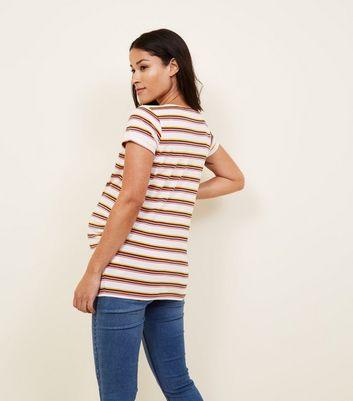 Maternity White Stripe Short Sleeve T-Shirt New Look
