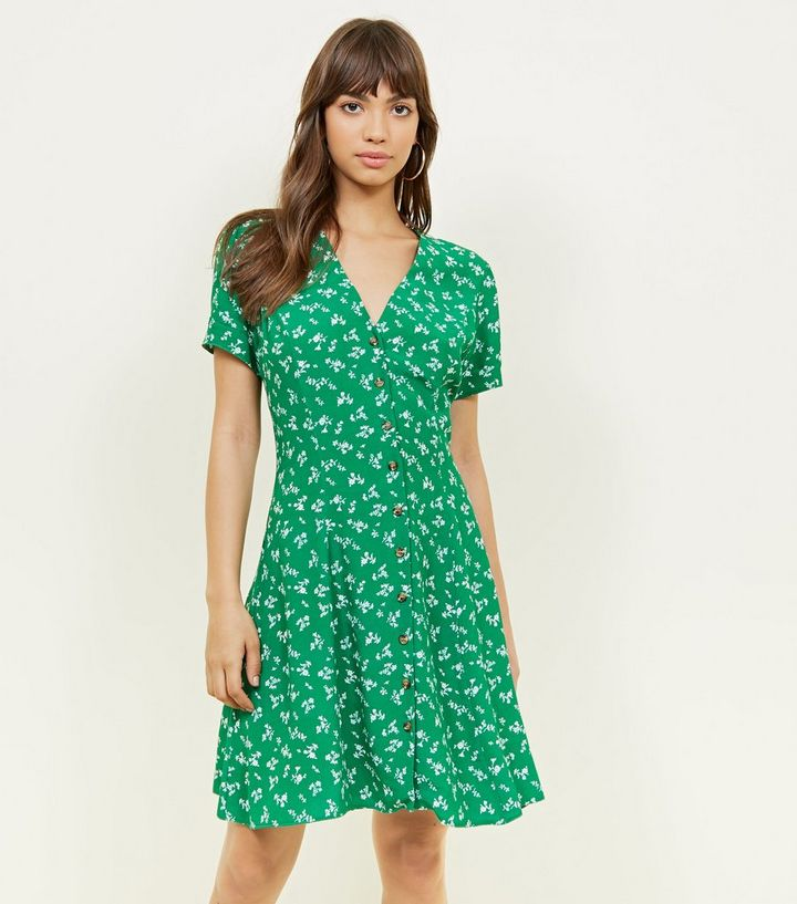 2d6f34c19c24 Green Ditsy Floral Button Front Mini Dress   New Look