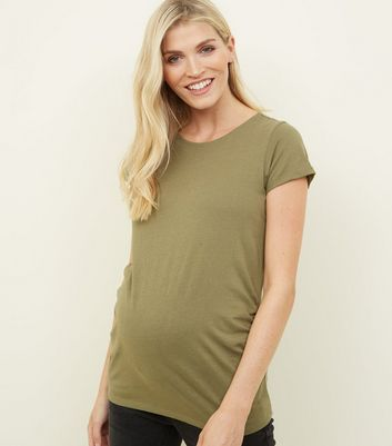 Maternity Olive Green Short Sleeve T-Shirt