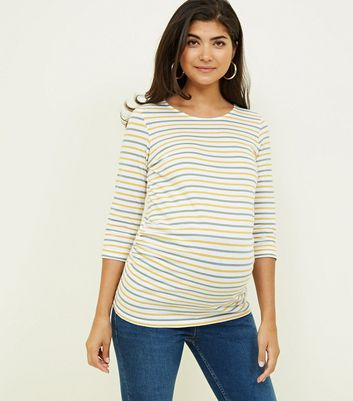 Maternity Yellow 3/4 Sleeve Stripe T-Shirt