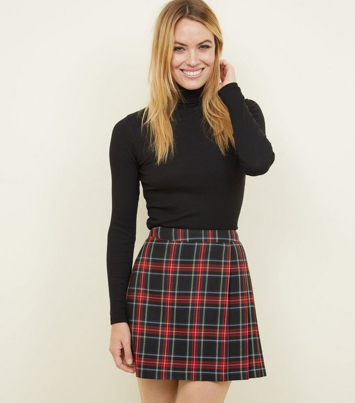 27f8d4c695 Black Tartan Check Pleated Skirt | New Look