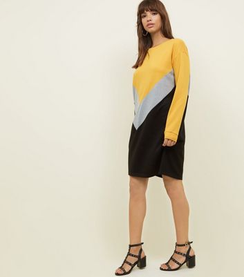 Noisy May Chevron Colour Block Jumper Dress New Look
