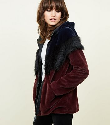 Noisy May Burgundy Contrast Faux Fur Coat