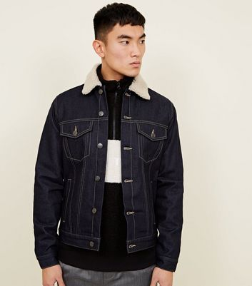 Indigo Check Lined Borg Collar Denim Jacket