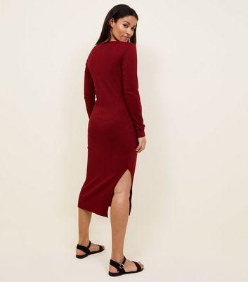 Maternity Burgundy Ribbed Midi Dress New Look