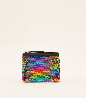 Rainbow and Black 2 Way Sequin Zip Purse