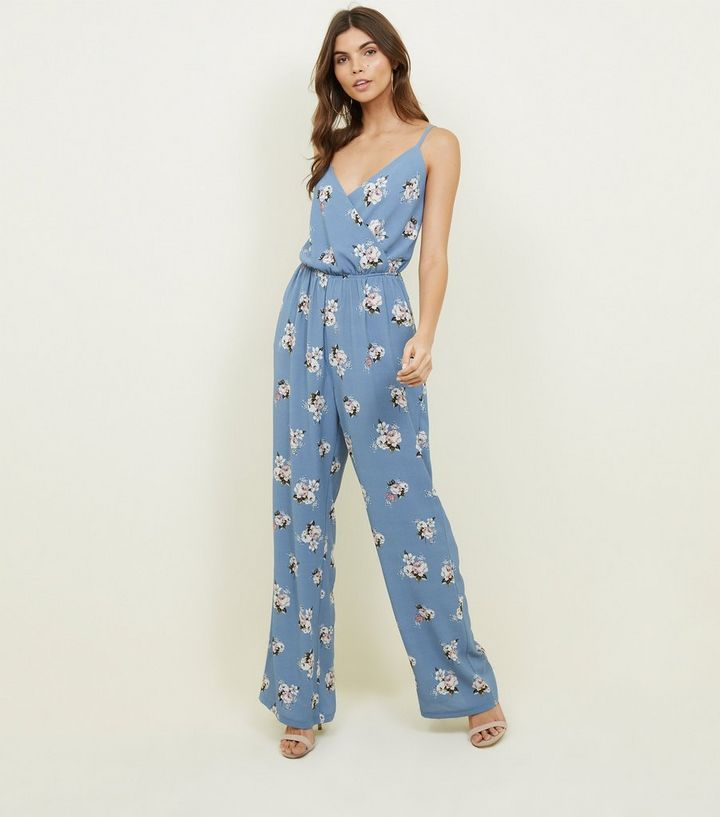 c49aa1aac85 Tall Blue Floral Strappy Wide Leg Jumpsuit. Add to Saved Items