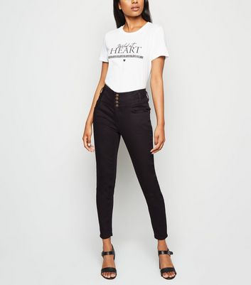 Petite Black 4 Button Skinny Jeans