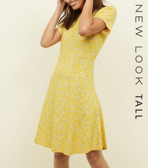 c468dbbbb06 ... Tall Yellow Ditsy Floral Cap Sleeve Swing Dress ...