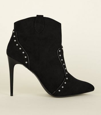 Black Studded Stiletto Ankle Boots