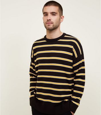 Black and Mustard Stripe Crew Neck Jumper