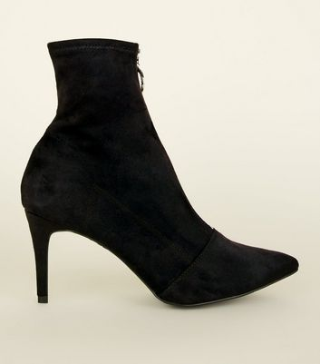 Black Zip Front Kitten Heel Sock Boots