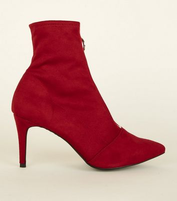 Red Zip Front Kitten Heel Sock Boots