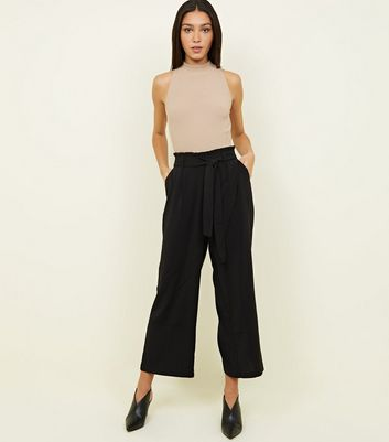 Tall Black Cropped Wide Leg Trousers