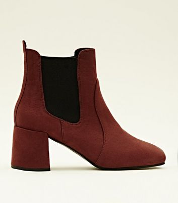 Rust Suedette Square Toe Heeled Chelsea Boots