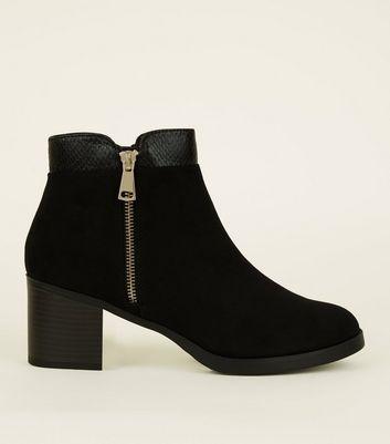 Comfort Suedette Mid Heel Ankle Boots