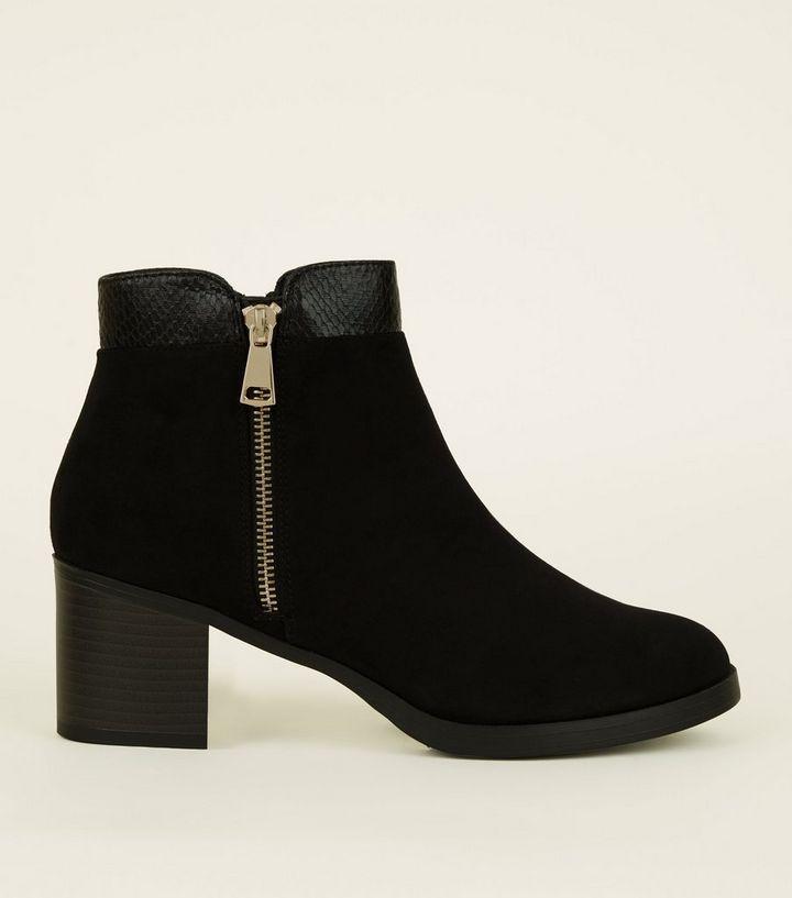 Black Comfort Suedette Mid Heel Ankle Boots  8ebeb9849