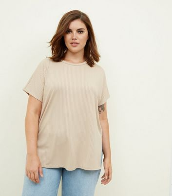Curves Camel Ribbed Tunic Top