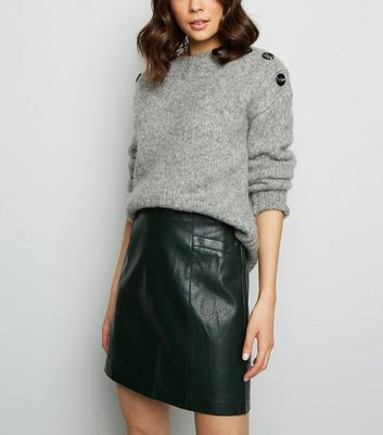 Tall Green Leather Look Mini Skirt