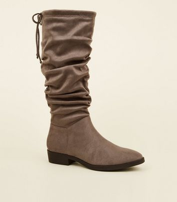 Grey Suedette Slouchy Knee High Boots