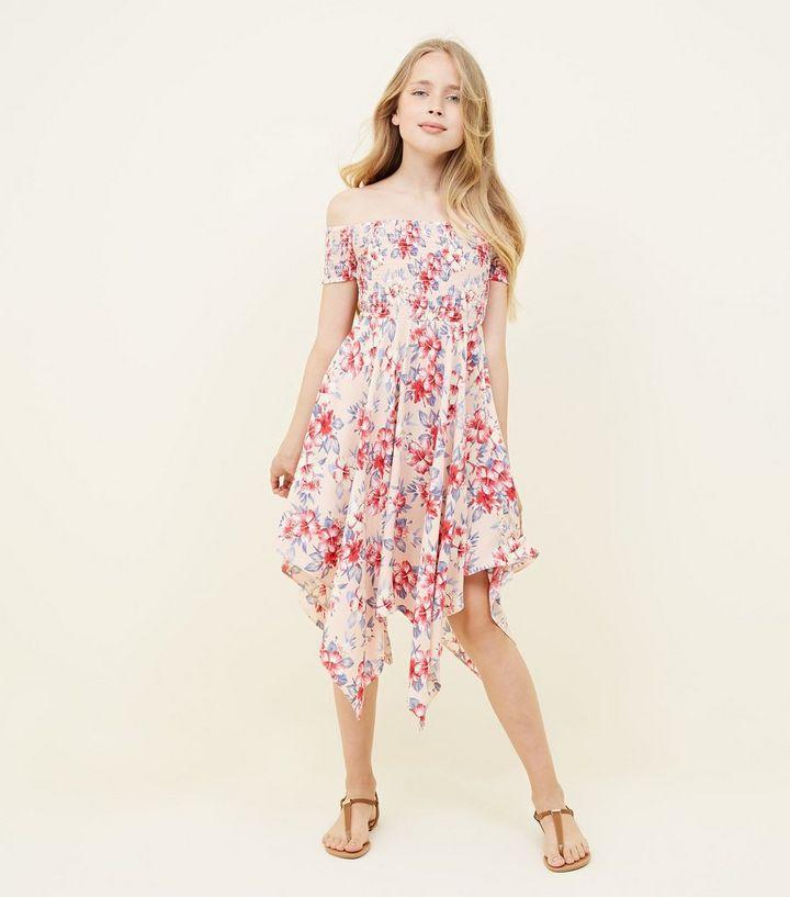 a1fb58b315b2 ... Girls Pink Tropical Print Hanky Hem Bardot Dress. ×. ×. ×. Shop the look