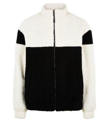 shop for Men's Black Colour Block Borg Jacket New Look at Shopo