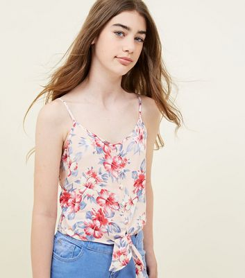 Girls Pink Floral Button Tie Front Cami