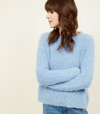 Blue Fluffy Chenille Jumper