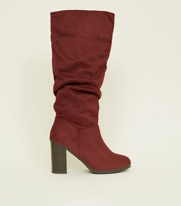 Dark Red Block Heel Knee High Boots