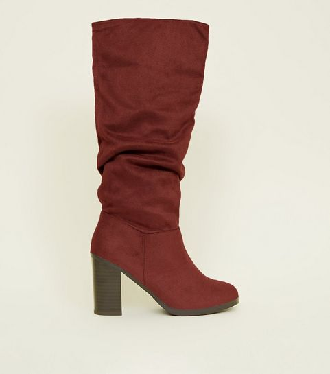 b61c50b1a0a3 ... Dark Red Block Heel Knee High Boots ...