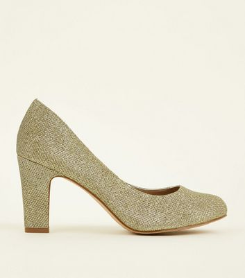 Wide Fit Gold Glitter Block Heel Court