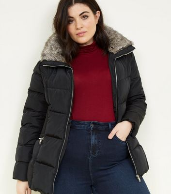 Curves Black Faux Fur Collar Puffer Jacket