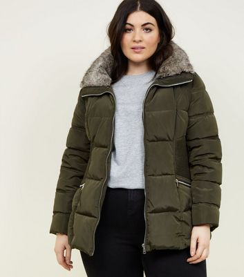 Curves Khaki Faux Fur Collar Puffer Jacket