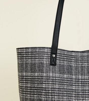 Black Check Tote Bag New Look