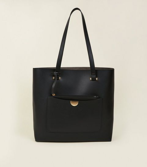 Black Leather Look Tote Bag
